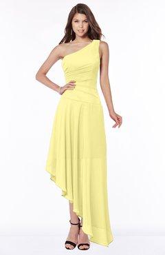 ColsBM Maggie Pastel Yellow Luxury A-line Zip up Chiffon Floor Length Ruching Bridesmaid Dresses