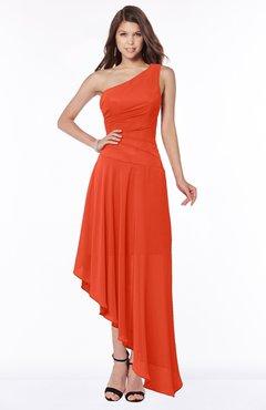 ColsBM Maggie Persimmon Luxury A-line Zip up Chiffon Floor Length Ruching Bridesmaid Dresses
