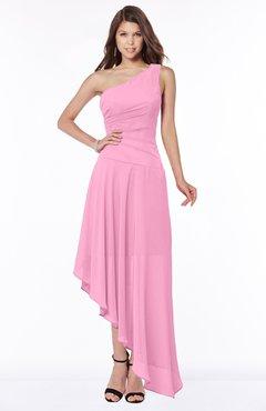 ColsBM Maggie Pink Luxury A-line Zip up Chiffon Floor Length Ruching Bridesmaid Dresses