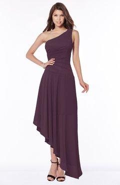 ColsBM Maggie Plum Luxury A-line Zip up Chiffon Floor Length Ruching Bridesmaid Dresses
