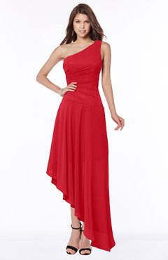 ColsBM Maggie Red Luxury A-line Zip up Chiffon Floor Length Ruching Bridesmaid Dresses