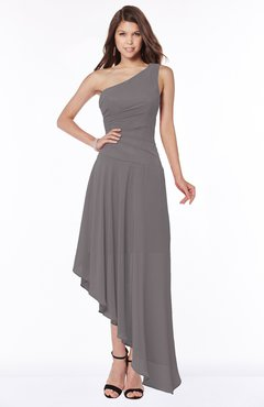 ColsBM Maggie Ridge Grey Luxury A-line Zip up Chiffon Floor Length Ruching Bridesmaid Dresses