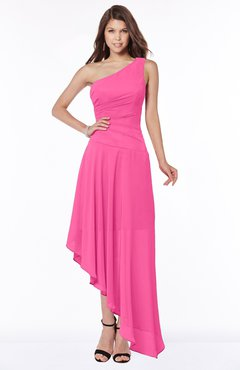 ColsBM Maggie Rose Pink Luxury A-line Zip up Chiffon Floor Length Ruching Bridesmaid Dresses