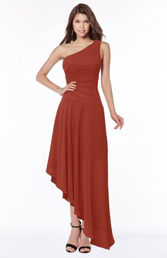 ColsBM Maggie Rust Luxury A-line Zip up Chiffon Floor Length Ruching Bridesmaid Dresses
