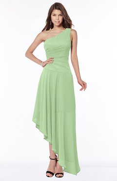ColsBM Maggie Sage Green Luxury A-line Zip up Chiffon Floor Length Ruching Bridesmaid Dresses