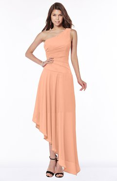 ColsBM Maggie Salmon Luxury A-line Zip up Chiffon Floor Length Ruching Bridesmaid Dresses