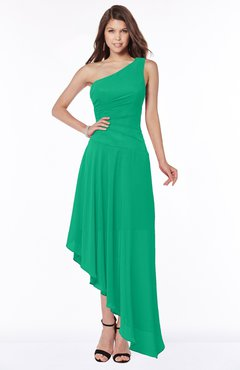 ColsBM Maggie Sea Green Luxury A-line Zip up Chiffon Floor Length Ruching Bridesmaid Dresses