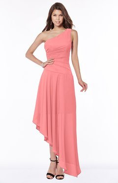 ColsBM Maggie Shell Pink Luxury A-line Zip up Chiffon Floor Length Ruching Bridesmaid Dresses