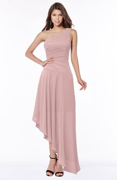 ColsBM Maggie Silver Pink Luxury A-line Zip up Chiffon Floor Length Ruching Bridesmaid Dresses