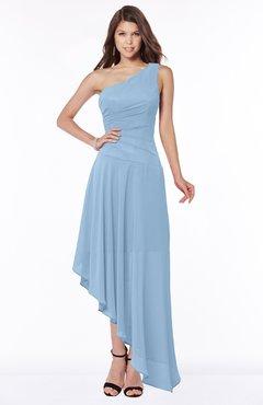 ColsBM Maggie Sky Blue Luxury A-line Zip up Chiffon Floor Length Ruching Bridesmaid Dresses
