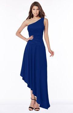 ColsBM Maggie Sodalite Blue Luxury A-line Zip up Chiffon Floor Length Ruching Bridesmaid Dresses