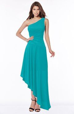 ColsBM Maggie Teal Luxury A-line Zip up Chiffon Floor Length Ruching Bridesmaid Dresses