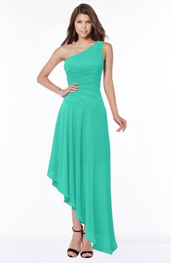 ColsBM Maggie Viridian Green Luxury A-line Zip up Chiffon Floor Length Ruching Bridesmaid Dresses