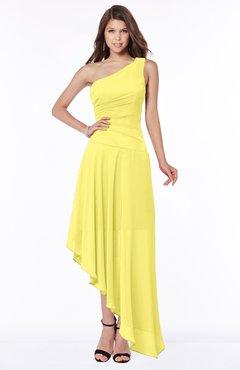 ColsBM Maggie Yellow Iris Luxury A-line Zip up Chiffon Floor Length Ruching Bridesmaid Dresses
