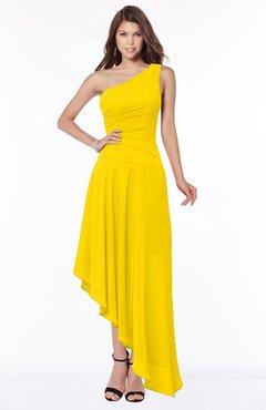 ColsBM Maggie Yellow Luxury A-line Zip up Chiffon Floor Length Ruching Bridesmaid Dresses
