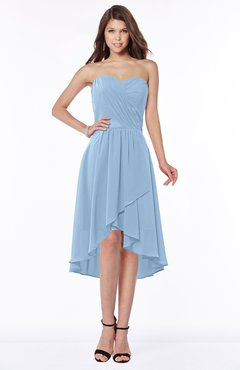 ColsBM Amaya Dusty Blue Mature A-line Strapless Chiffon Knee Length Ruching Bridesmaid Dresses