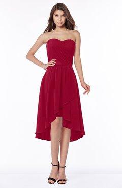 ColsBM Amaya Maroon Mature A-line Strapless Chiffon Knee Length Ruching Bridesmaid Dresses