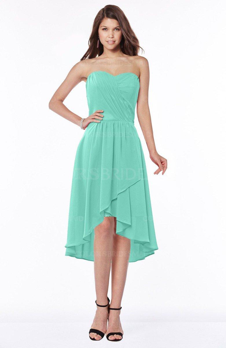 6efed8d6fdd ColsBM Amaya Mint Green Mature A-line Strapless Chiffon Knee Length Ruching Bridesmaid  Dresses