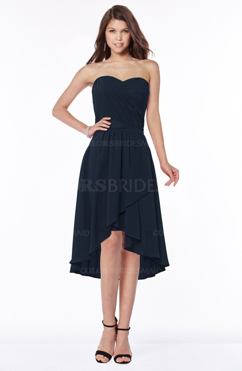 07ff80cd4768 ColsBM Amaya Navy Blue Mature A-line Strapless Chiffon Knee Length Ruching Bridesmaid  Dresses