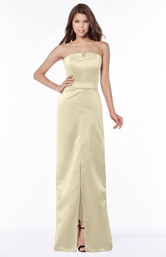 satin champagne sheath gown