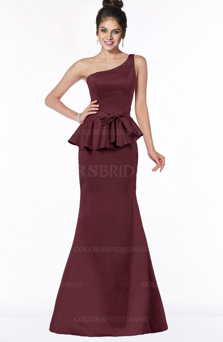 06c4aaaeefe2 Burgundy Satin Bridesmaid Dresses