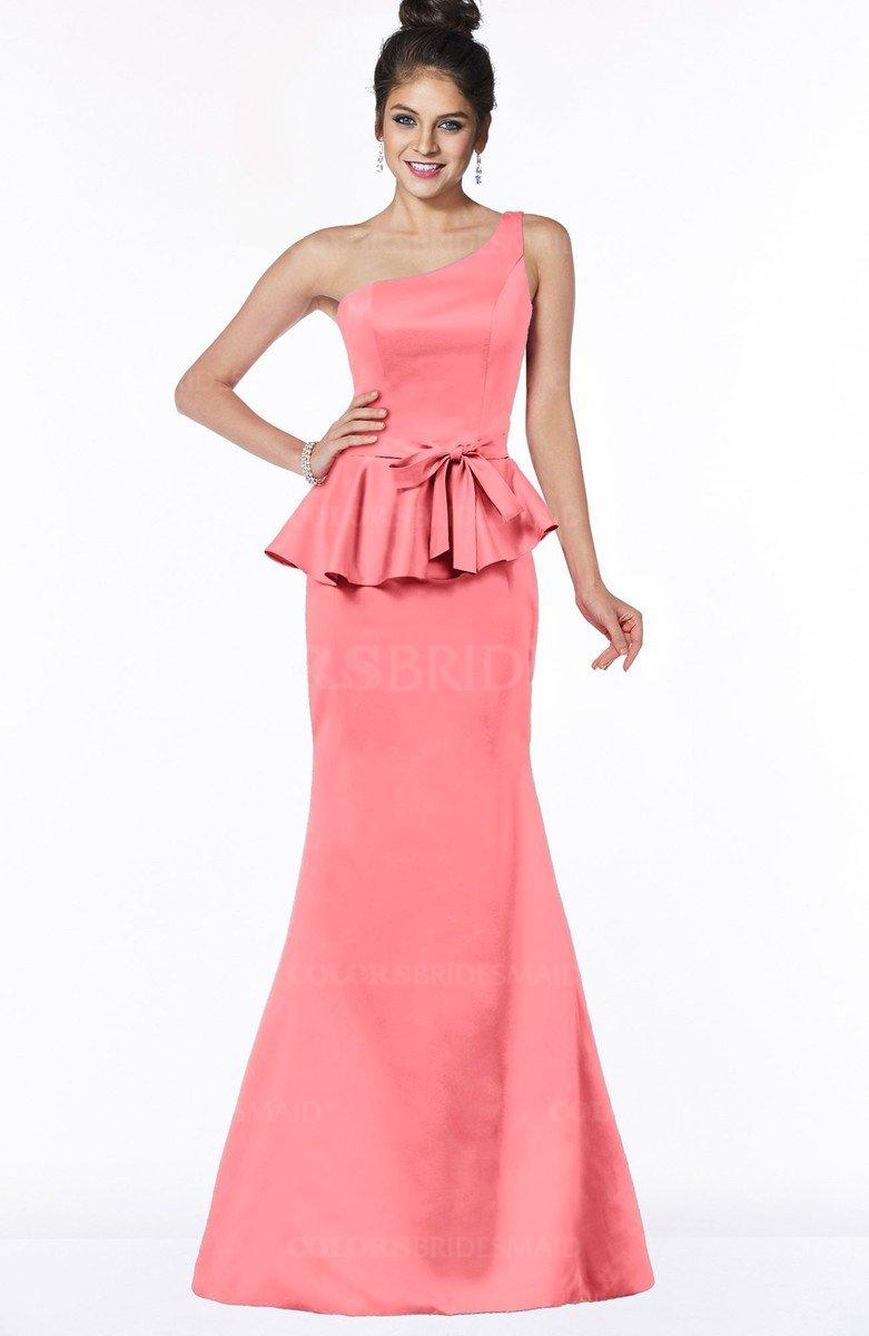3c85eb188e Coral Satin Bridesmaid Dresses