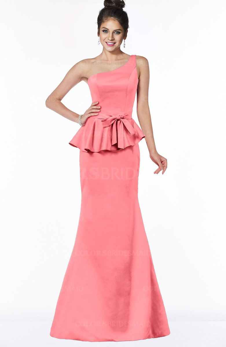 6931173675da ColsBM Brittany Hot Coral Elegant Mermaid Sleeveless Satin Floor Length  Bridesmaid Dresses