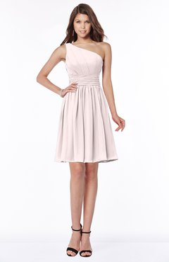 ColsBM Julia Angel Wing Classic One Shoulder Sleeveless Chiffon Knee Length Ruching Bridesmaid Dresses