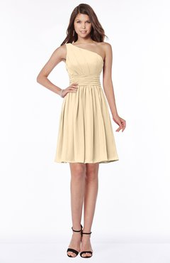 ColsBM Julia Apricot Gelato Classic One Shoulder Sleeveless Chiffon Knee Length Ruching Bridesmaid Dresses