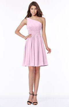 ColsBM Julia Baby Pink Classic One Shoulder Sleeveless Chiffon Knee Length Ruching Bridesmaid Dresses