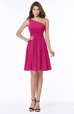 ColsBM Julia Beetroot Purple Classic One Shoulder Sleeveless Chiffon Knee Length Ruching Bridesmaid Dresses