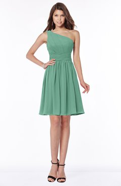 ColsBM Julia Beryl Green Classic One Shoulder Sleeveless Chiffon Knee Length Ruching Bridesmaid Dresses