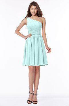 ColsBM Julia Blue Glass Classic One Shoulder Sleeveless Chiffon Knee Length Ruching Bridesmaid Dresses