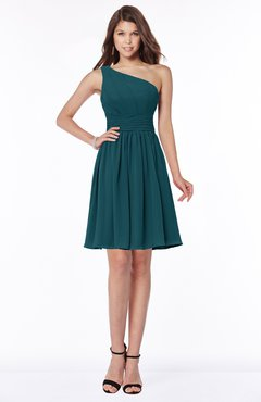 ColsBM Julia Blue Green Classic One Shoulder Sleeveless Chiffon Knee Length Ruching Bridesmaid Dresses