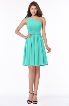 ColsBM Julia Blue Turquoise Classic One Shoulder Sleeveless Chiffon Knee Length Ruching Bridesmaid Dresses