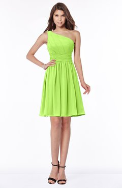 ColsBM Julia Bright Green Classic One Shoulder Sleeveless Chiffon Knee Length Ruching Bridesmaid Dresses