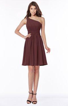 ColsBM Julia Burgundy Classic One Shoulder Sleeveless Chiffon Knee Length Ruching Bridesmaid Dresses