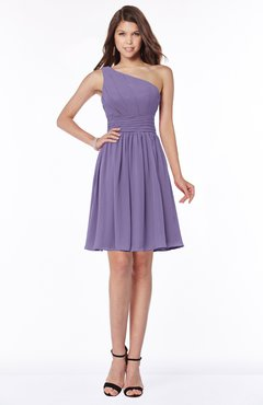 ColsBM Julia Chalk Violet Classic One Shoulder Sleeveless Chiffon Knee Length Ruching Bridesmaid Dresses