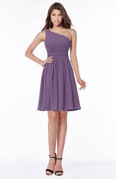ColsBM Julia Chinese Violet Classic One Shoulder Sleeveless Chiffon Knee Length Ruching Bridesmaid Dresses