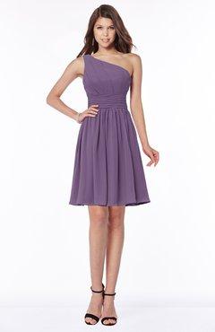 ColsBM Julia Chinese Violet Classic One Shoulder Sleeveless Chiffon Knee Length Ruching Bridesmaid Dresses