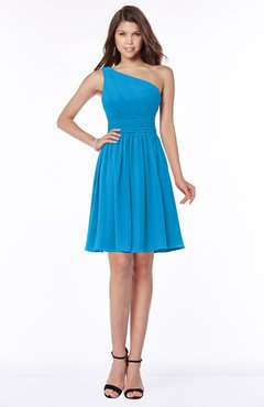 ColsBM Julia Cornflower Blue Classic One Shoulder Sleeveless Chiffon Knee Length Ruching Bridesmaid Dresses