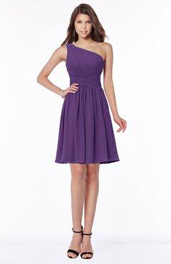 7989df0f4fc ColsBM Julia Dark Purple Classic One Shoulder Sleeveless Chiffon Knee  Length Ruching Bridesmaid Dresses