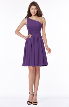ColsBM Julia Dark Purple Classic One Shoulder Sleeveless Chiffon Knee Length Ruching Bridesmaid Dresses