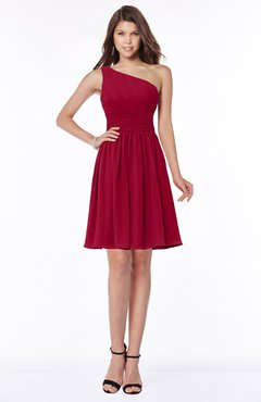 ColsBM Julia Dark Red Classic One Shoulder Sleeveless Chiffon Knee Length Ruching Bridesmaid Dresses