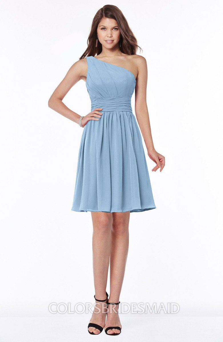 78efdeb80ea28 ColsBM Julia Dusty Blue Classic One Shoulder Sleeveless Chiffon Knee Length  Ruching Bridesmaid Dresses