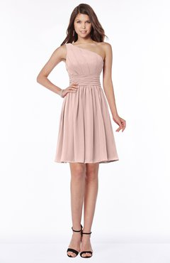 ColsBM Julia Dusty Rose Classic One Shoulder Sleeveless Chiffon Knee Length Ruching Bridesmaid Dresses