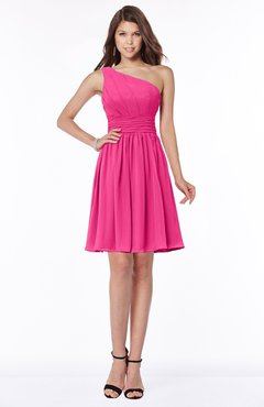 ColsBM Julia Fandango Pink Classic One Shoulder Sleeveless Chiffon Knee Length Ruching Bridesmaid Dresses