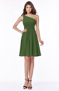 ColsBM Julia Garden Green Classic One Shoulder Sleeveless Chiffon Knee Length Ruching Bridesmaid Dresses
