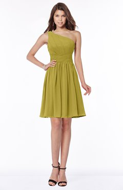 ColsBM Julia Golden Olive Classic One Shoulder Sleeveless Chiffon Knee Length Ruching Bridesmaid Dresses