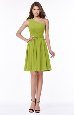ColsBM Julia Green Oasis Classic One Shoulder Sleeveless Chiffon Knee Length Ruching Bridesmaid Dresses